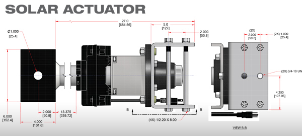 Solar Actuator Technical Drawing